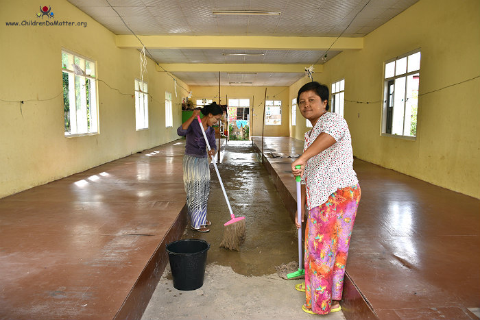 cleaning of dormitories sasana orphanage myanmar - children do matter