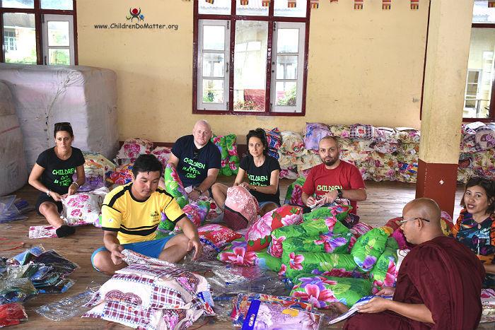 preparation pillows mattresses sasana orphanage myanmar - children do matter